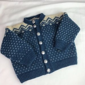 Vintage | 2T. Blue and a White Wool Cardigan